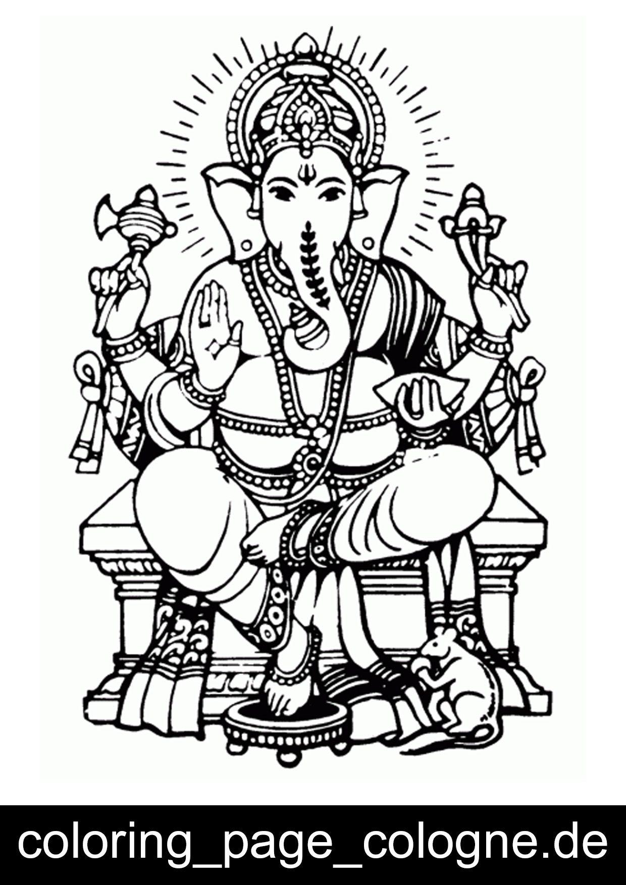 Coloring Page Ganesha With Images Ganesha Drawing Ganesha