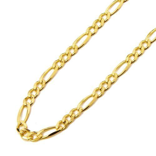 14k Yellow Gold 4 6mm Yellow Pave 3 1 Figaro Chain Necklace With
