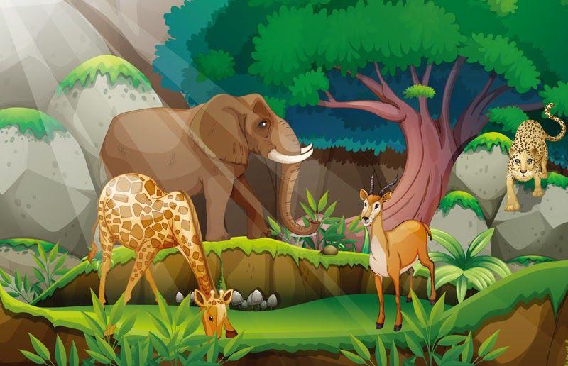 Wow 18 Gambar Hutan Dan Binatang Kartun 84 Koleksi Gambar Animasi Hutan Dan Hewan Gratis Terbaik Gambar Gambar K Animal Illustration Jungle Scene Dog Sketch