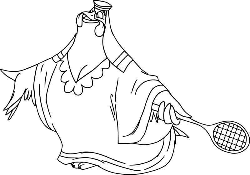 Lady Kluck Playing Tennis Coloring Page Coloring Pages Disney