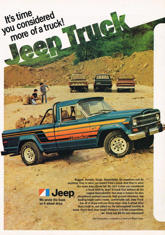 1980 Jeep Honcho J10 4x4 Pickup Truck Print Ad Art Affiliate