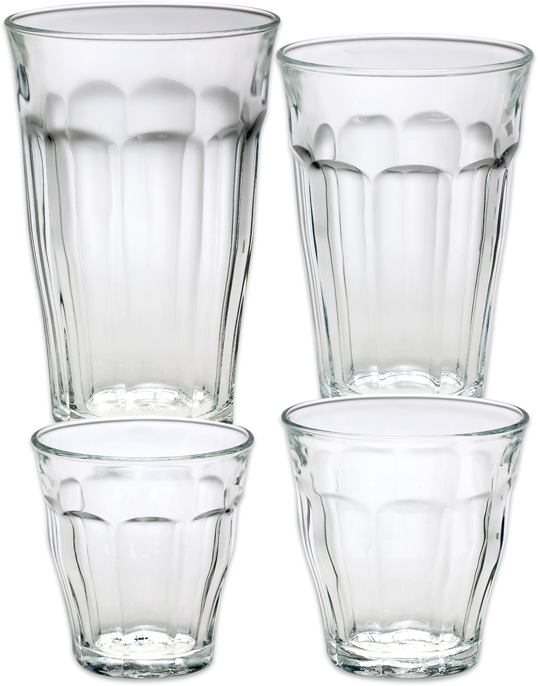 French Glass Tumblers In 4 Sizes, Set Of 6 | Glass, Tumbler ...