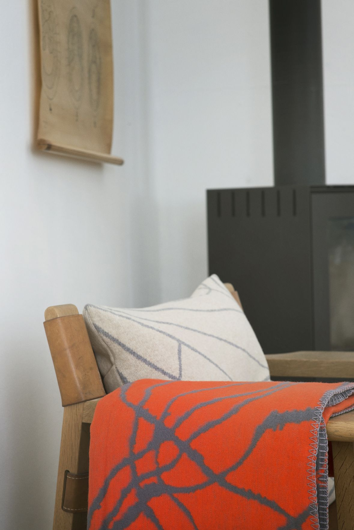 Throw / Blanket Mist Grey / Orange   Organic Cotton   Fabulous Goose  Scandinavian Interior Design Products To A Discerning Client