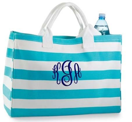 Personalized Tote Bag Blue Stripe Monogrammed Beach By Parsik93