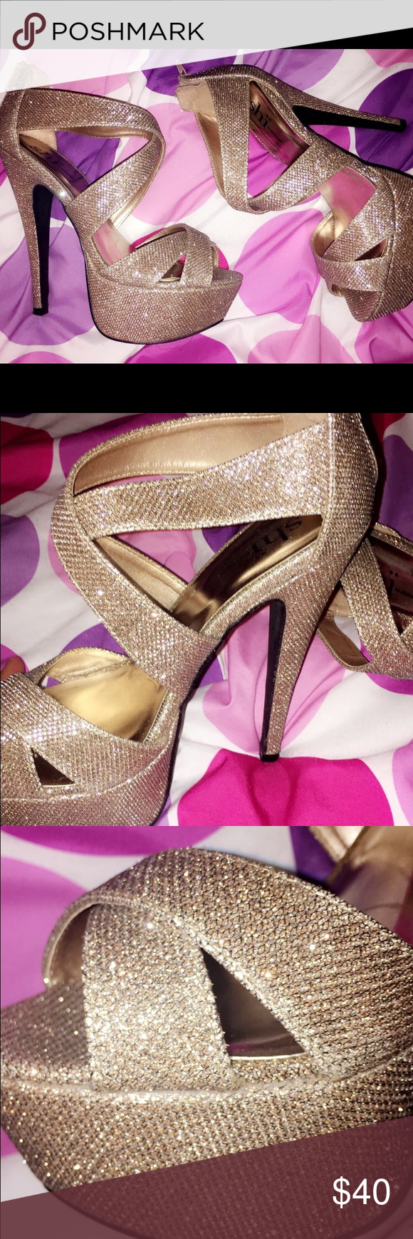 Sparky Champagne heels Sexy adorable sparkling pair of shoes😍. Only worn 1 time. Basically new! Shoes Heels