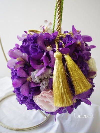 ball bouquet purple 和装ボールブーケ 紫