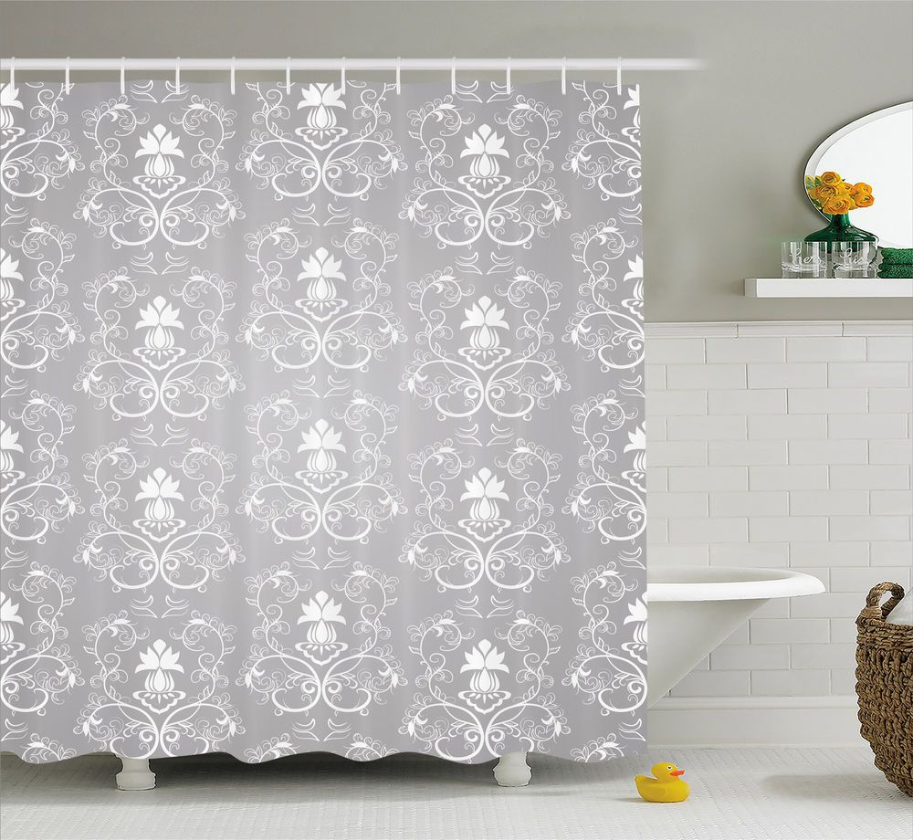 Grey Shower Curtain Antique Damask Royal Print For Bathroom 75 Inches Long