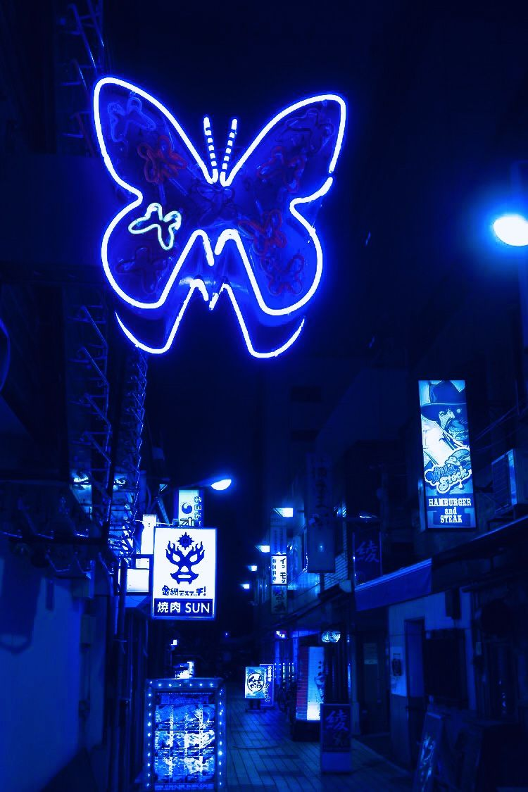 Blue Butterfly Cute Blue Wallpaper Blue Aesthetic Grunge Blue Aesthetic Tumblr Electric blue neon neon wallpaper