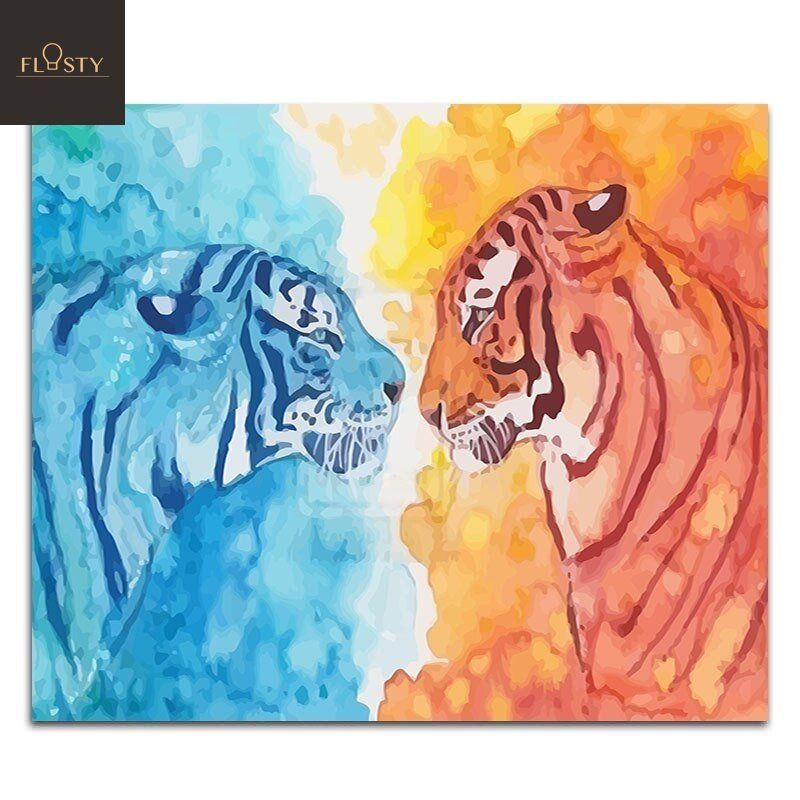 Paint By Numbers Ice And Fire Tiger In 2020 Fire Ice Art