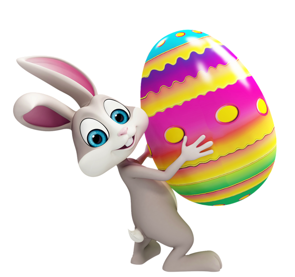 Easter Bunny With Colorful Egg Transparent Png Clipart Cute Easter Bunny Funny Easter Bunny Bunny Images