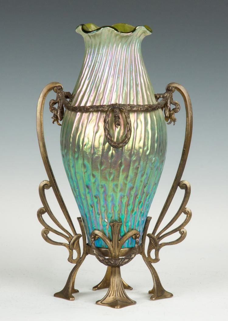 Kralik Sea Urchin Decor Vase C 1900 With Iridescent Twisted Rib