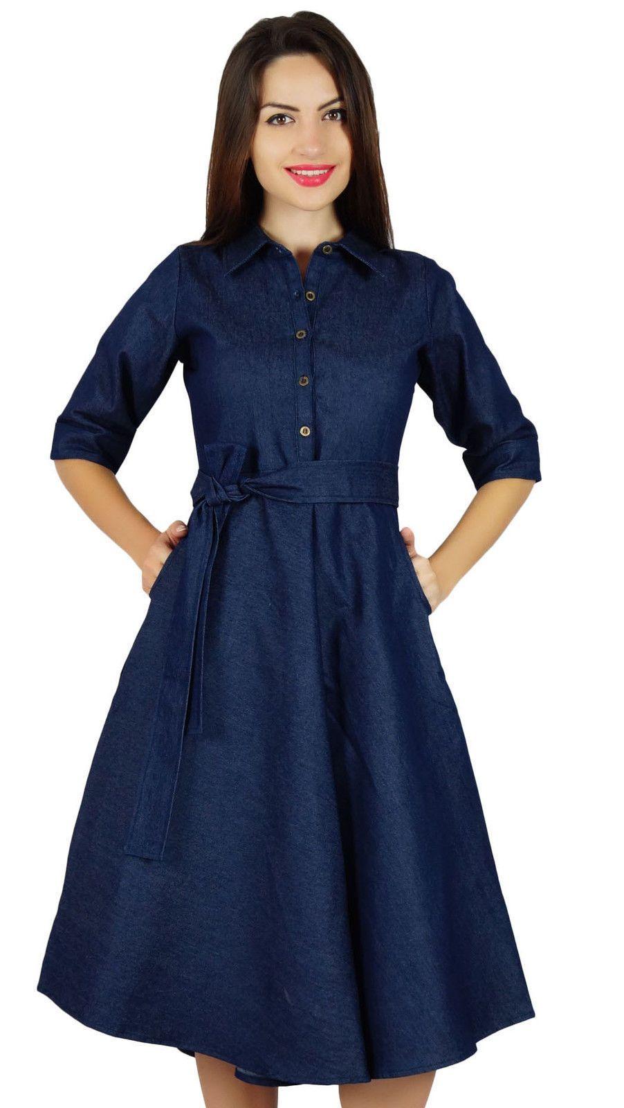9d63357e12e Bimba Womens Blue Denim Shirt Dress With Pockets 3 4 Sleeve Casual Midi  Dress