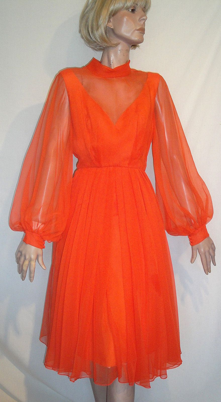Nos helen rose gorgeous bold tangerine chiffon illusion party dress
