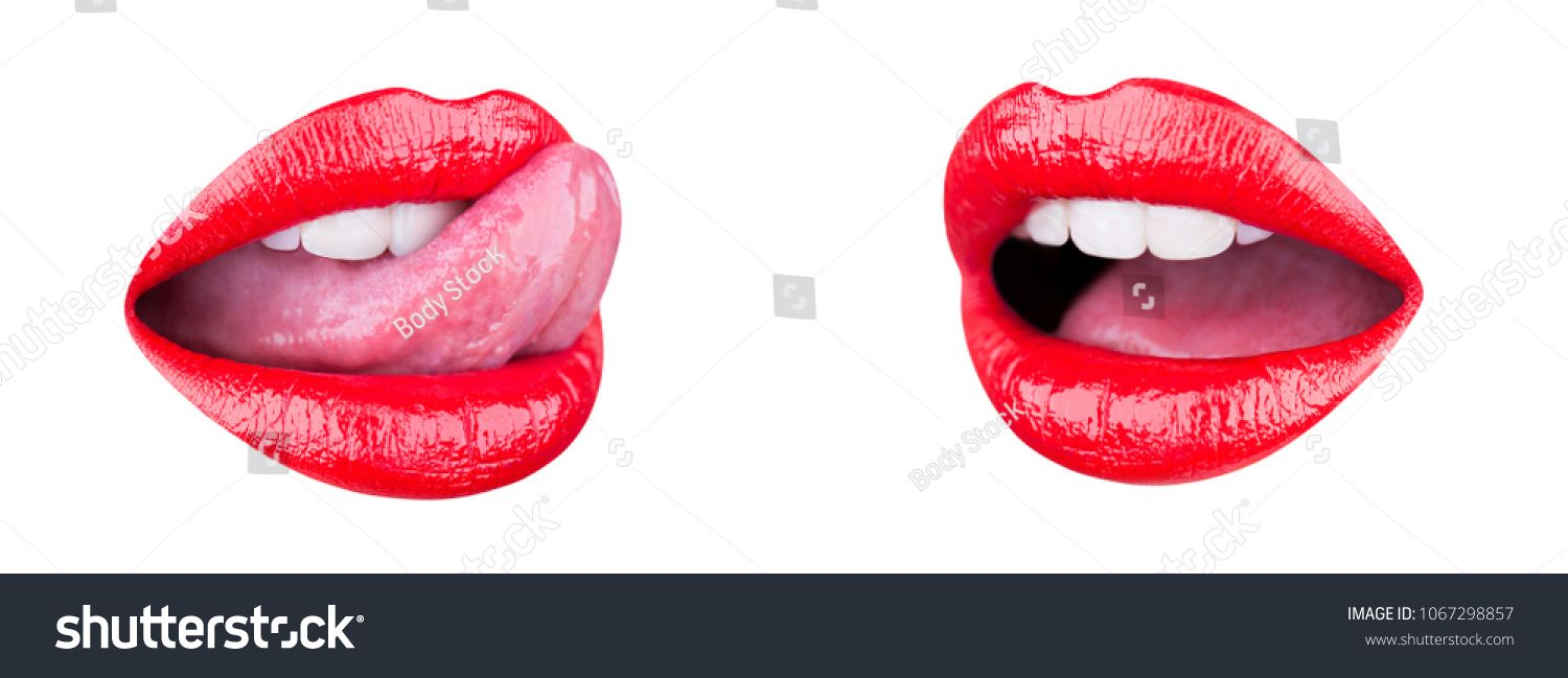 Red Lips Biting Icon On White Background Stock Illustration