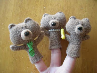 Goldilocks & the 3 Bears Finger Puppets -- TUTORIAL