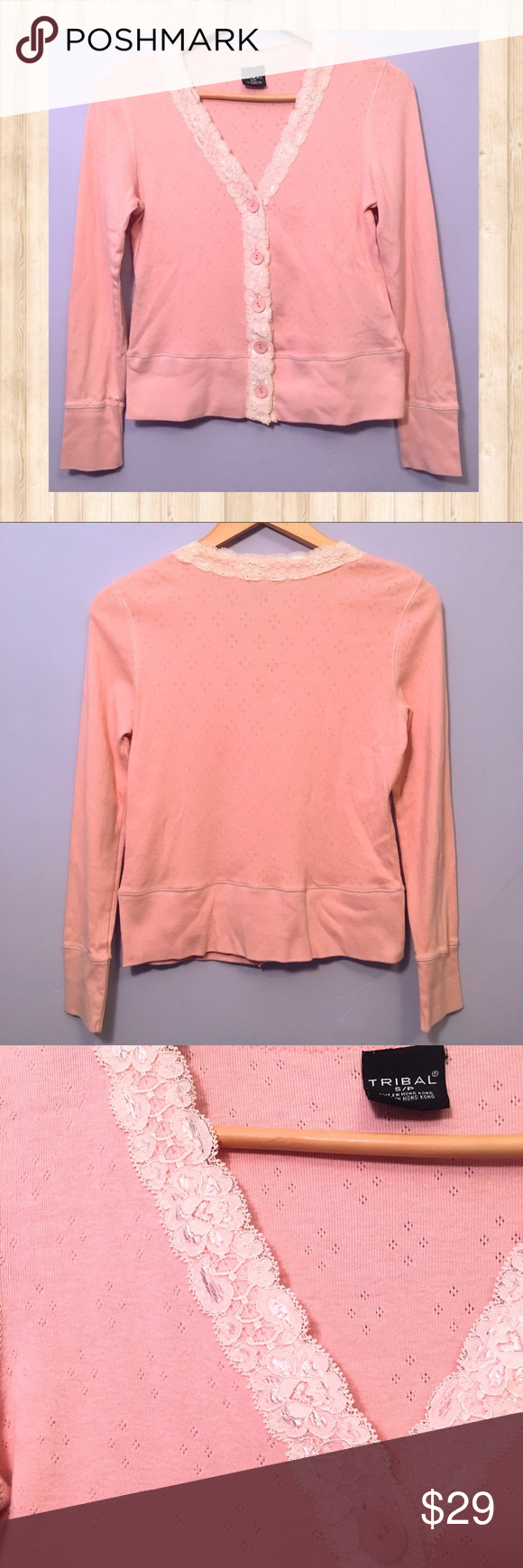 Tribal pink and white lace trim cardigan Tribal pink and white ...