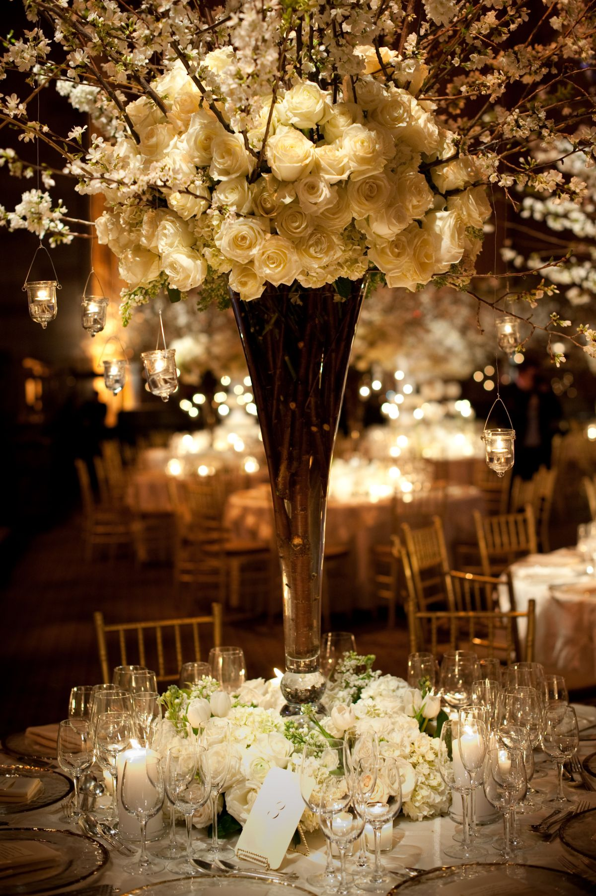 Wedding decorations white  Stunning Winter White Wedding at Cipriani nd Street  Centerpieces