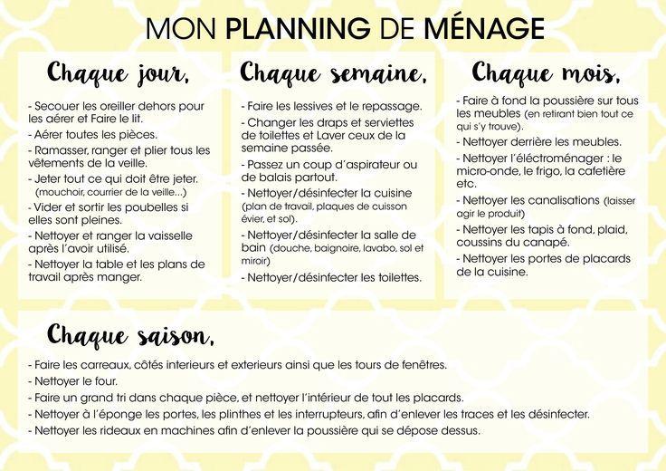 PLANIFIER LES TÂCHES POUR GARDER SA MAISON PROPRE ET RANGÉE. Panification  Zone Ménage, Planning