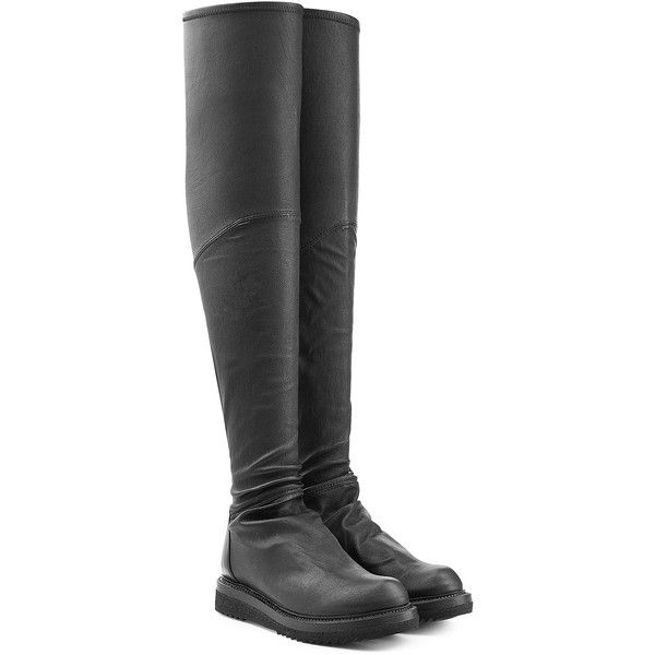 Rick Owens Leather Over-the-Knee Boots ($1,455) ❤ liked on Polyvore