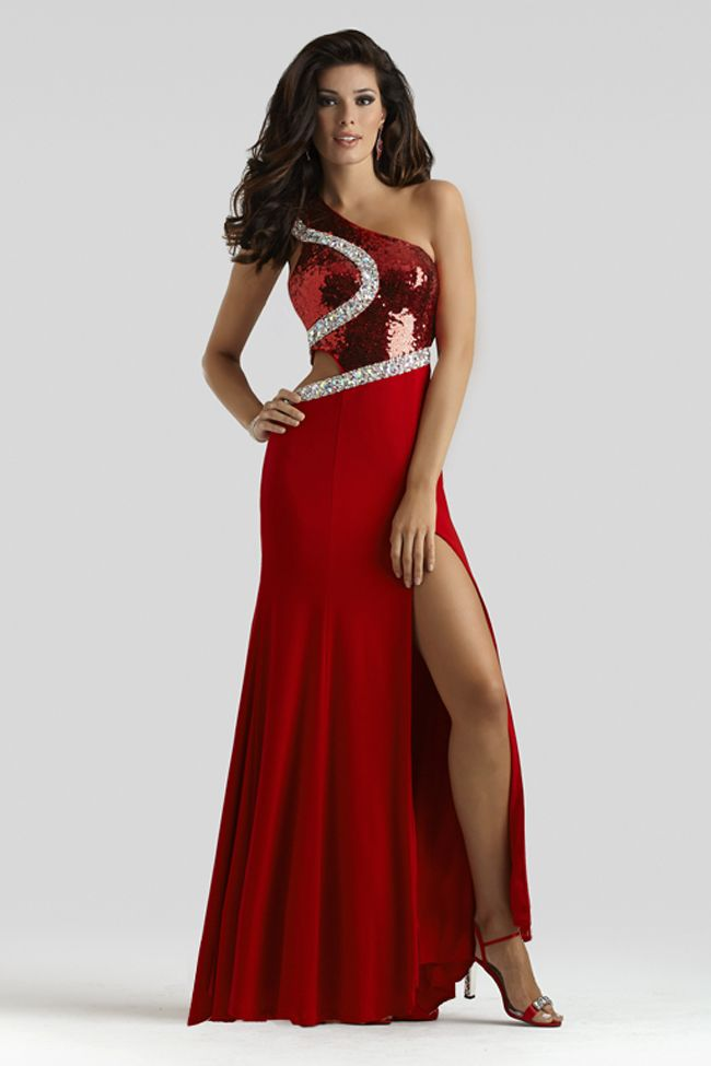 6711496881 Clarisse 2014 Red One Shoulder Stretch Jersey Prom Dress 2374