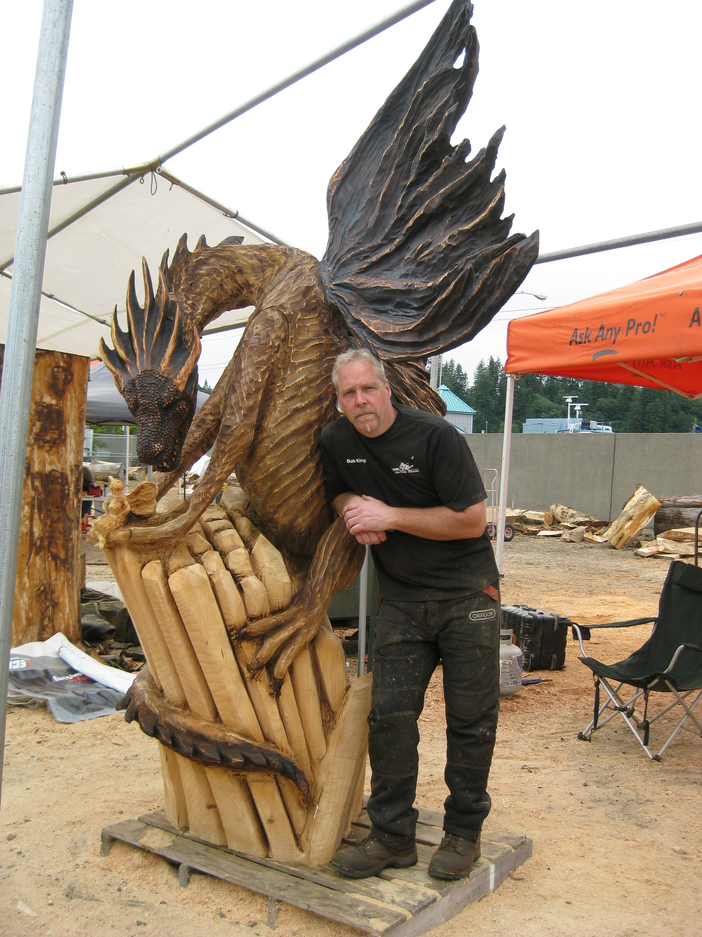 Chainsaw carved dragons oregon divisional