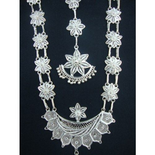 0d4504f63 Silver Filigree Odissi Dance Ornaments - Online Shopping for Necklaces by Radha  Jewellers