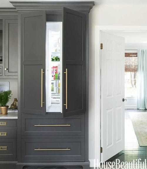 Kitchen Cabinets That Look Like Furniture: Paneled Refrigerator W Crown Moulding