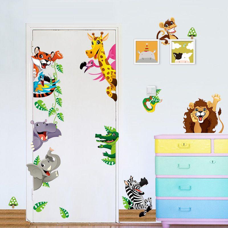 Dinosaur Wall Decals Stickers Behind The Door Kids Bedroom Mural Wall Art Decor