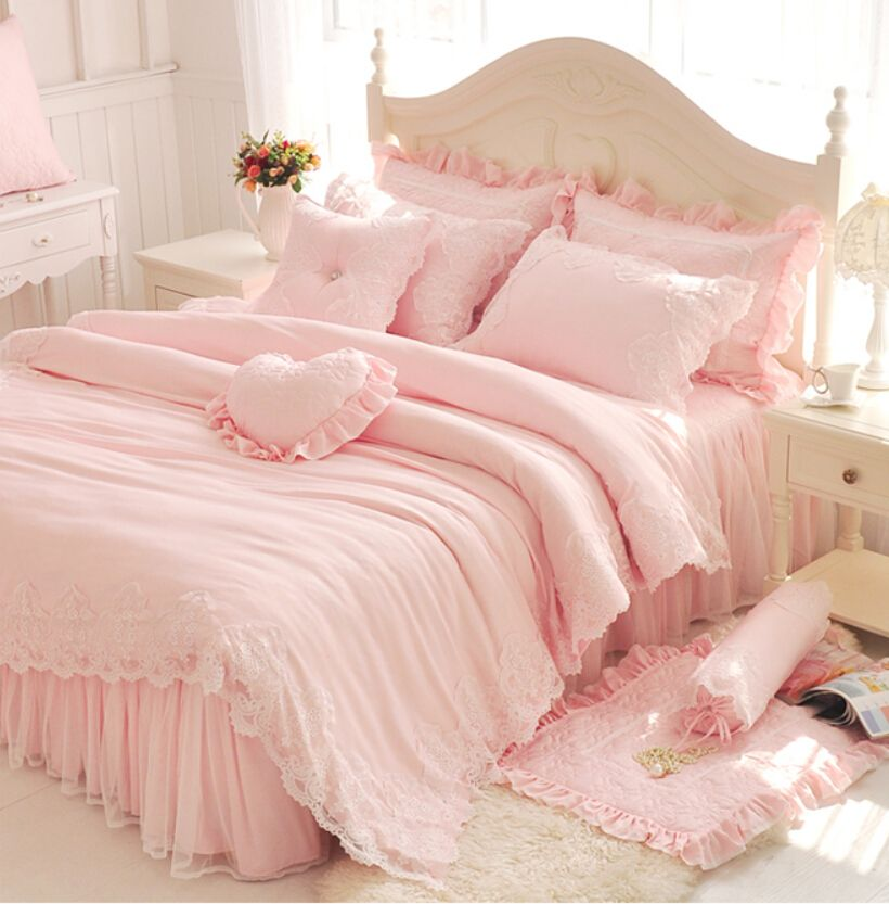 diamant dentelle princesse ensembles de literie de luxe rose volants jupe de lit couleur unie. Black Bedroom Furniture Sets. Home Design Ideas