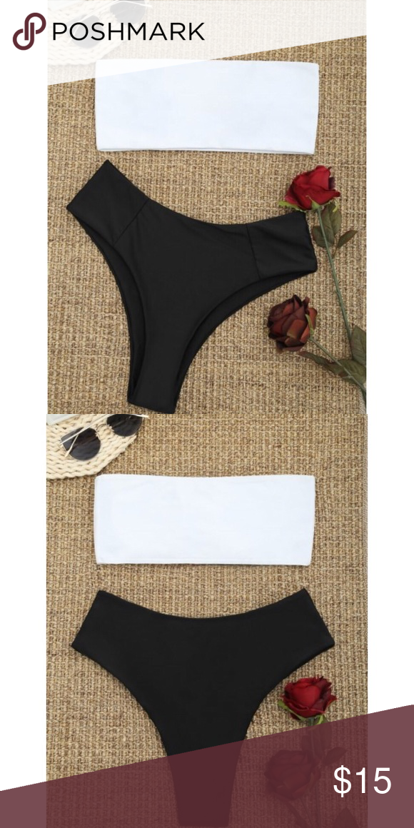 3db6c72029a High Cut Two Tone Bikini Set - Black/White Strapless bandeau collar with  side boning for extra support, removable padded cups detailed.