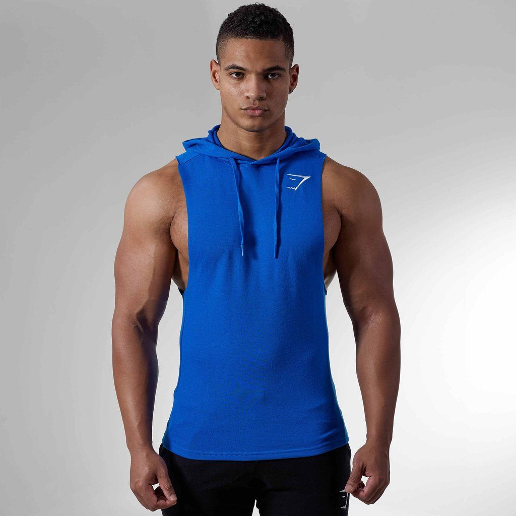 70ba5b2bdf4ee1 Gymshark Drop Arm Sleeveless Hoodie - Dive Blue at Gymshark
