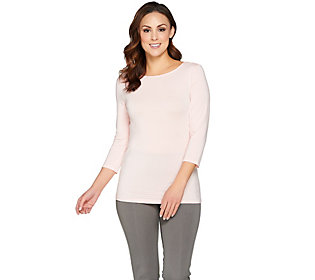 H by Halston Essentials Boatneck 3/4 Sleeve Knit Top