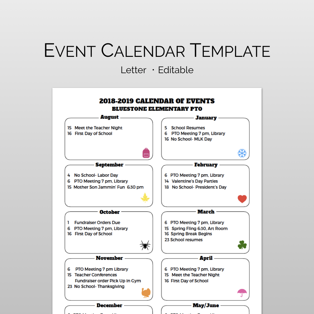 Monthly Calendar Of Events Flyer Template Event Calendar School Calendar Event Calendar Template