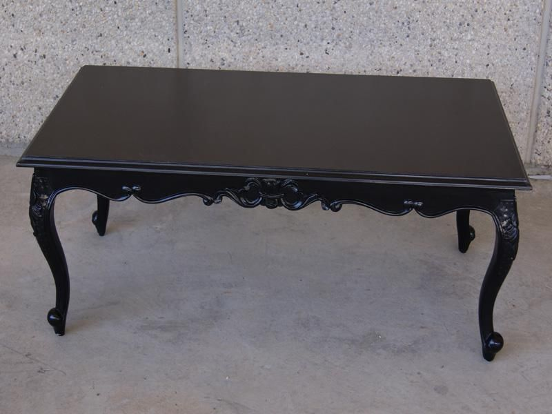 Black French Provincial Coffee Table Painting Old Furniture