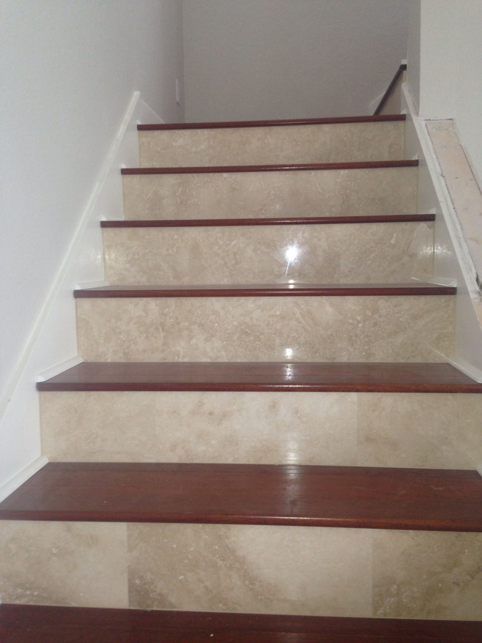Custom Built Treads U0026 Risers   Travertine U0026 Cherry Wood