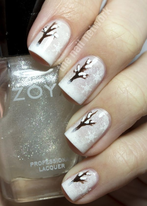 The Nail Network Snowy Winter Tree Nail Art Bestest Pinterest