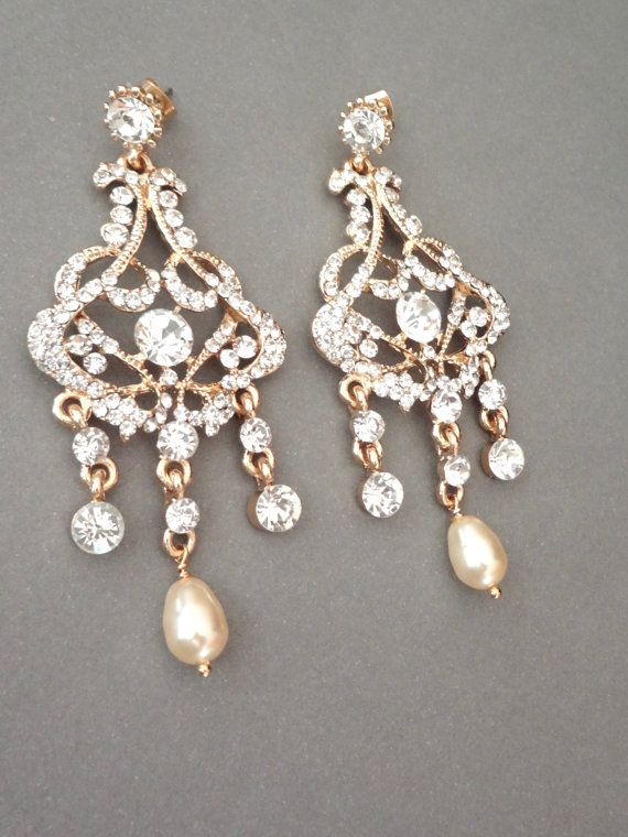 Gold Pearl Chandelier Earrings Brides By Queenmejewelryllc