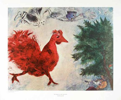 The Red Cock Collectable Print by Marc Chagall at Art.com