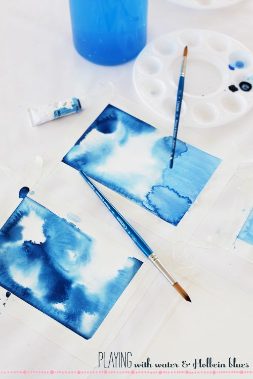 Blues And Pink Aquarelle Painting Et Peinture A L Eau