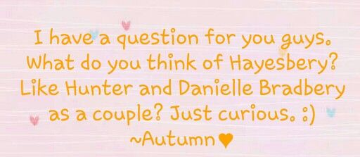 LUV IT I actually want them too get together I mean Danielle's a sweet girl and I would love too see them together :)