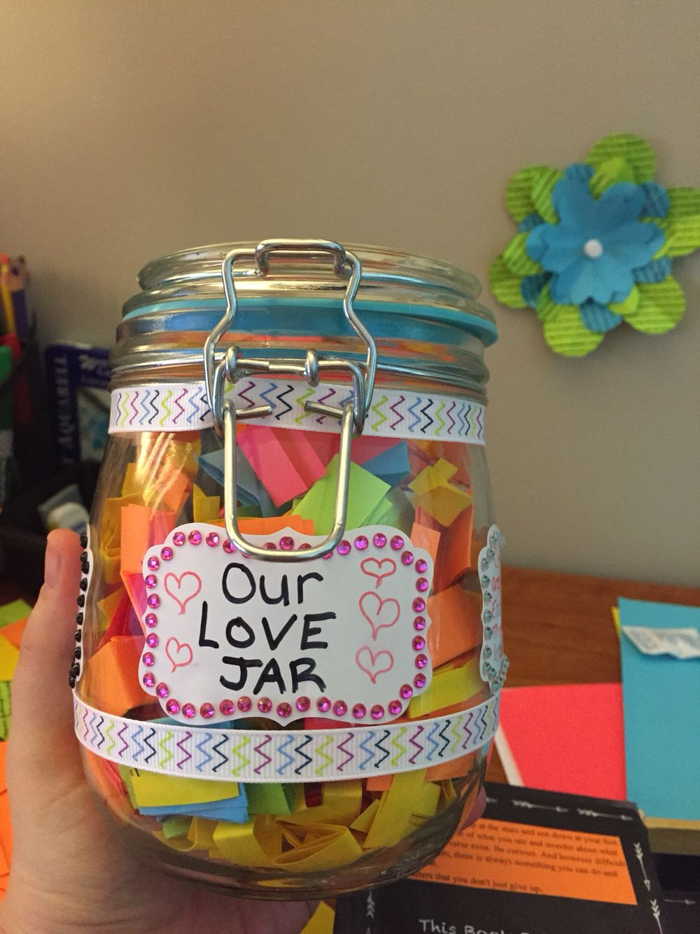 Our love jar! Filled with reasons I love you Date ideas Memories Quotes Lyrics