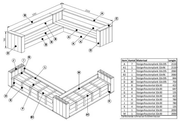 Steigerhout hoekbank tekeningen achtertuin pinterest for Steigerhouten bank bouwtekening