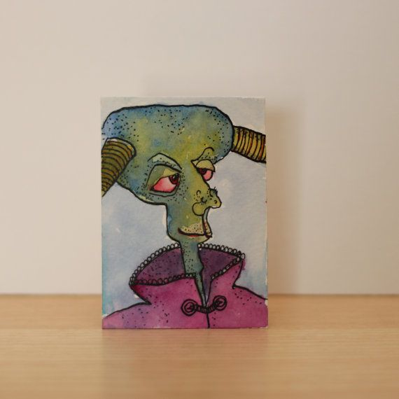 monsteroriginal watercolor paintingaceo original by ELartGallery, £5.60