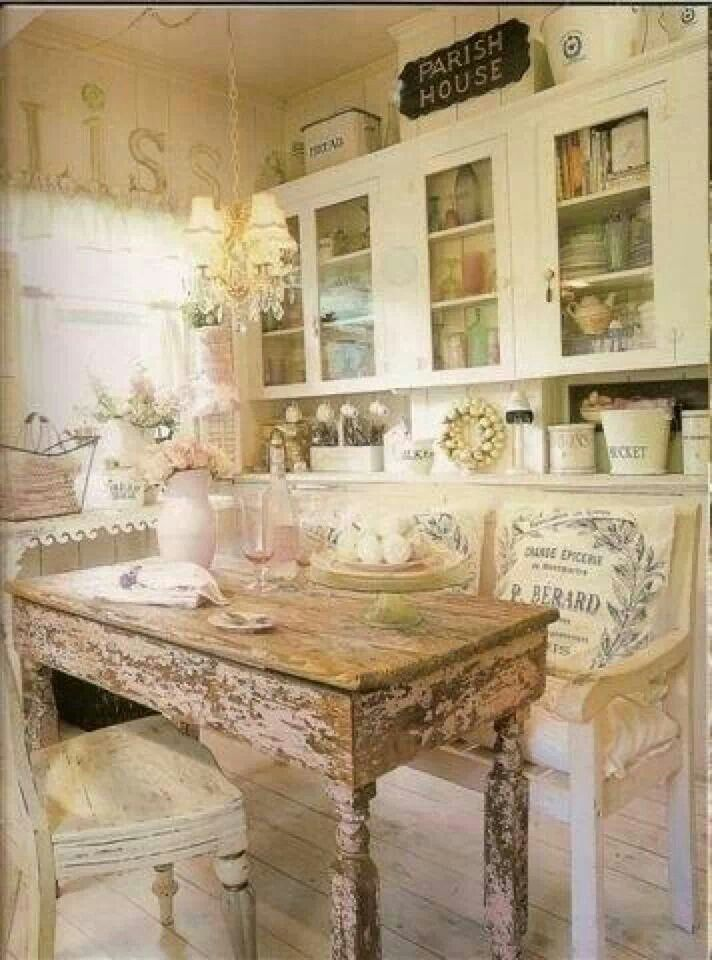 All The Best Components For A Gorgeous Shabby Chic French Room Are At Play  In This Wonderful Kitchen.home Decor French Shabby Chic Vintage