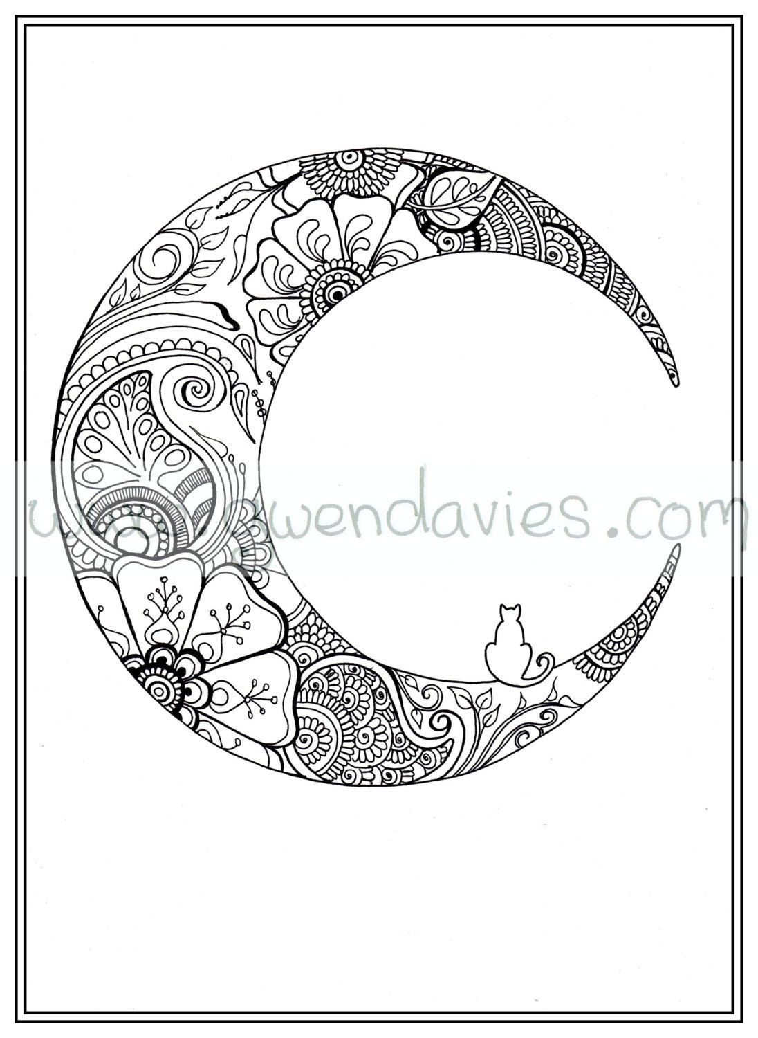Adult Colouring In PDF Download Moon Cat Calming Mindfulness Henna