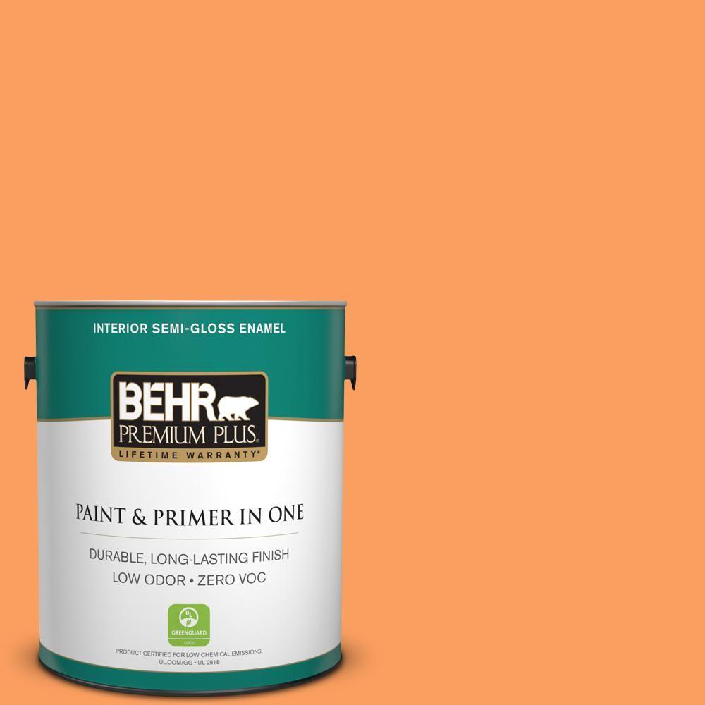 BEHR Premium Plus 1-gal. #250B-5 Orange Spice Zero VOC Semi-Gloss Enamel Interior Paint