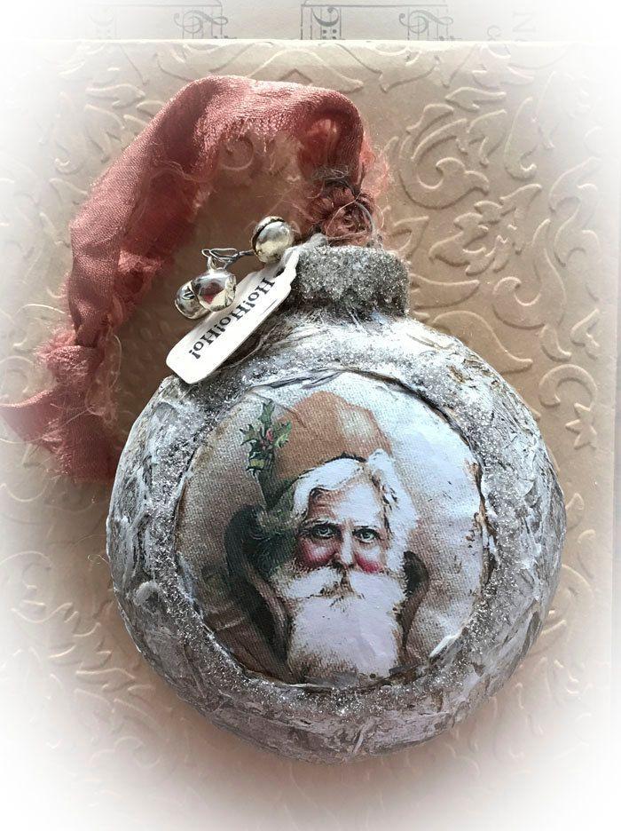 christmas tree glass ornament santaho ho ho 2 by nelliewortman - Santa Hohoho 2