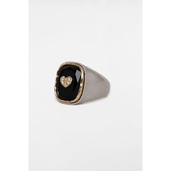 Zadig & Voltaire Onyx Heart Signet Ring (3 255 ZAR) ❤ liked on Polyvore featuring jewelry, rings, silver, onyx jewelry, onyx heart ring, heart ring, onyx ring and black onyx heart ring