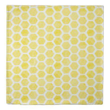 Watercolor Hexagon Yellow And Indigo Reversible Duvet Cover