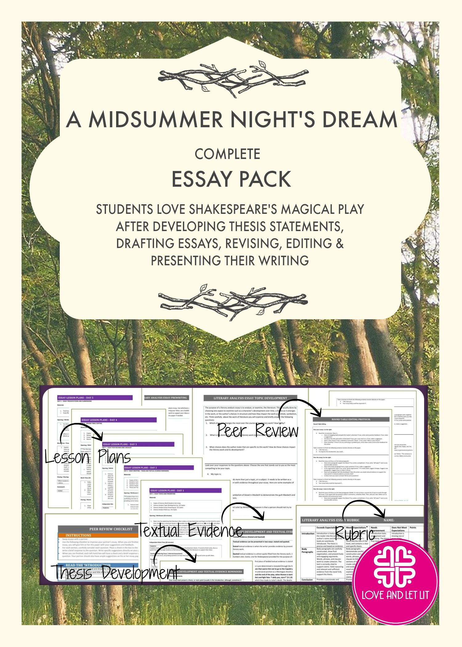 a midsummer night s dream essay unit for literary analysis writing  a midsummer night s dream essay unit for literary analysis writing